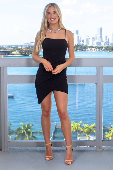 Black Sleeveless Short Dress with Ruched Side
