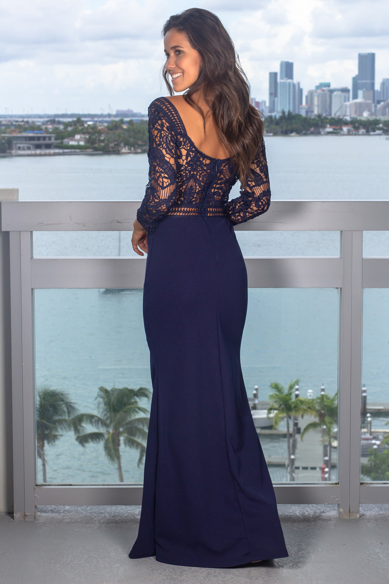Blue Crochet Top Maxi Dress with 3/4 Sleeves and Side Slit