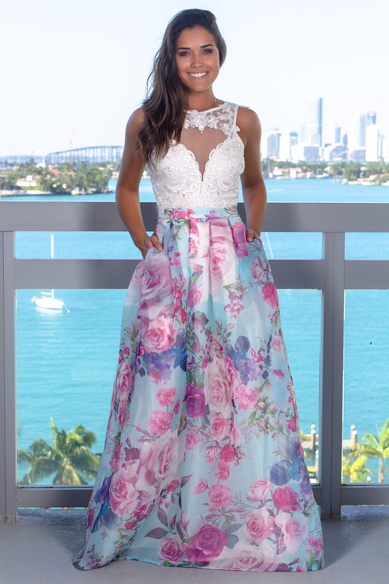Blue Floral Embroidered Maxi Dress with Pockets