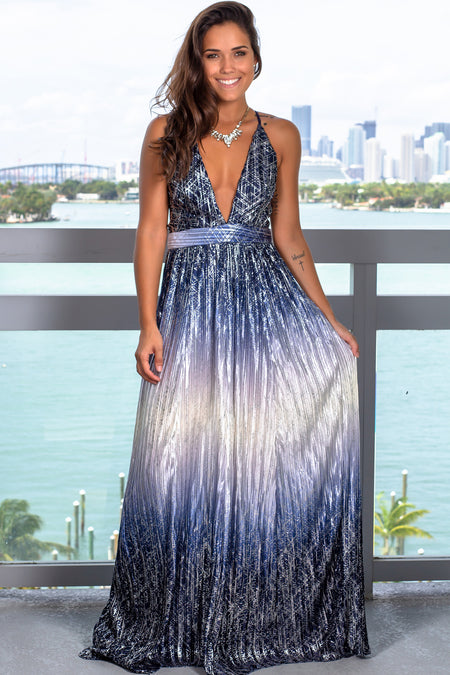 Blue Pleated Maxi Dress with Silver Detail