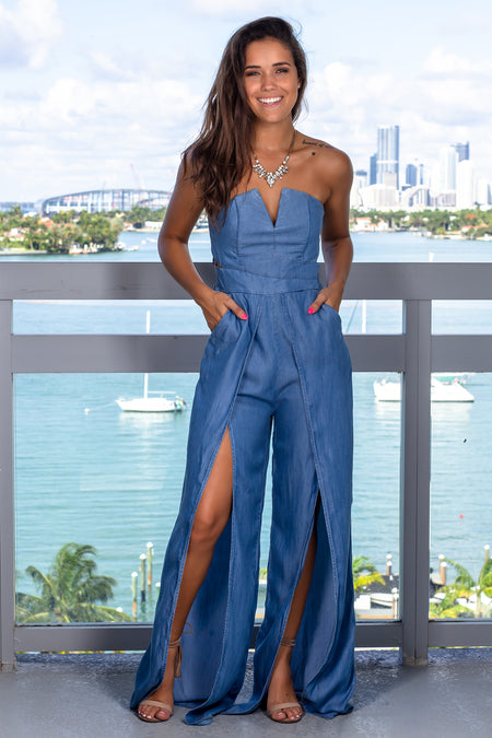 Blue Strapless Jumpsuit With Slits