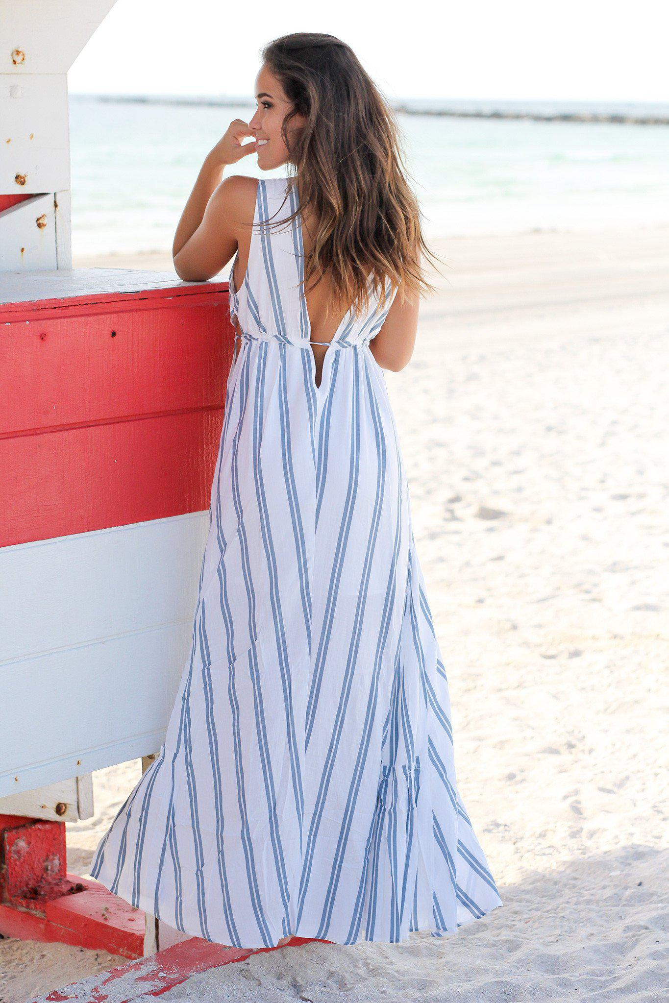 Blue Striped Maxi Dress