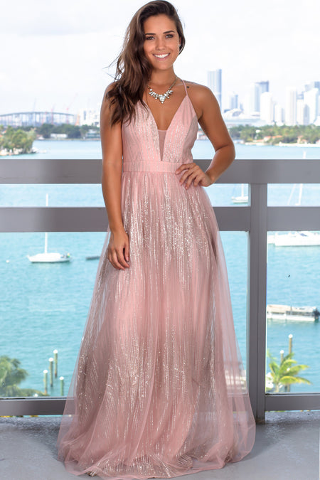 Blush Glitter Maxi Dress with Criss Cross Back
