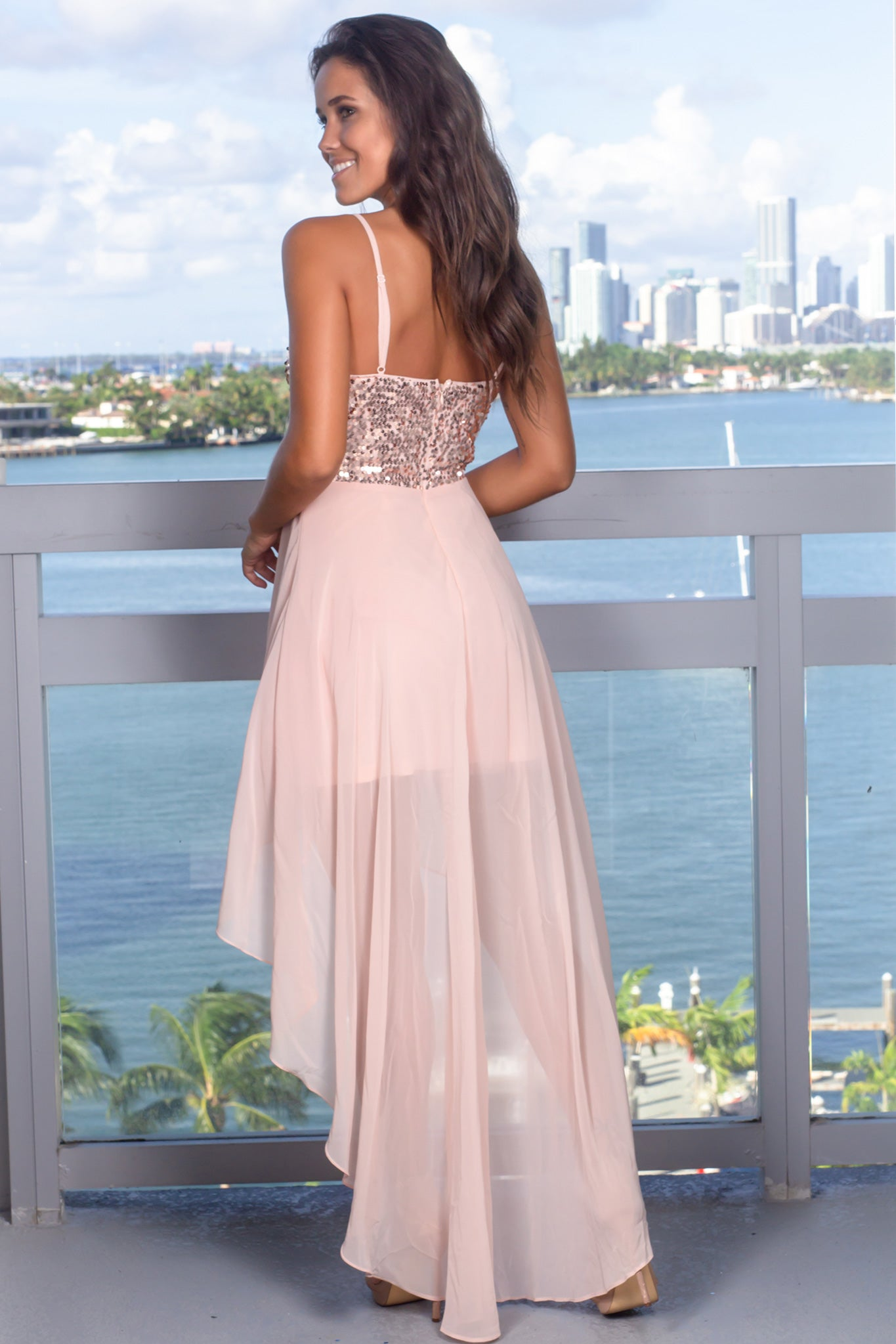Blush High Low Dress with Sequin Top