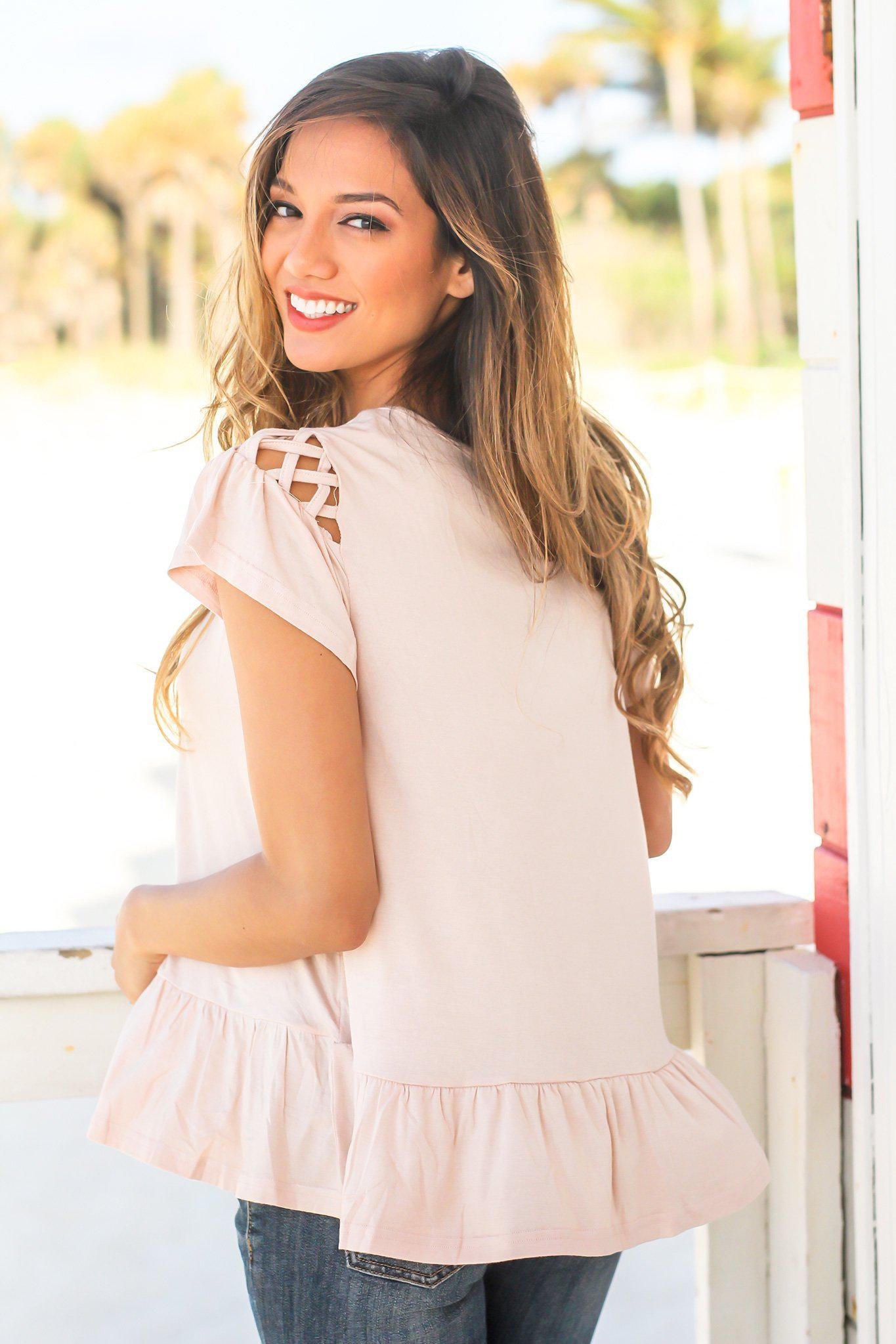 Blush Ruffle Top with Cut Out Sleeve Detail