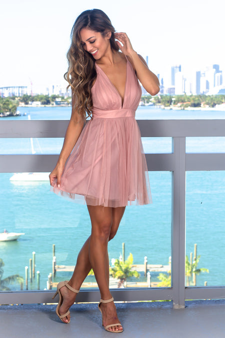 Blush Tulle Short Dress with Criss Cross Back