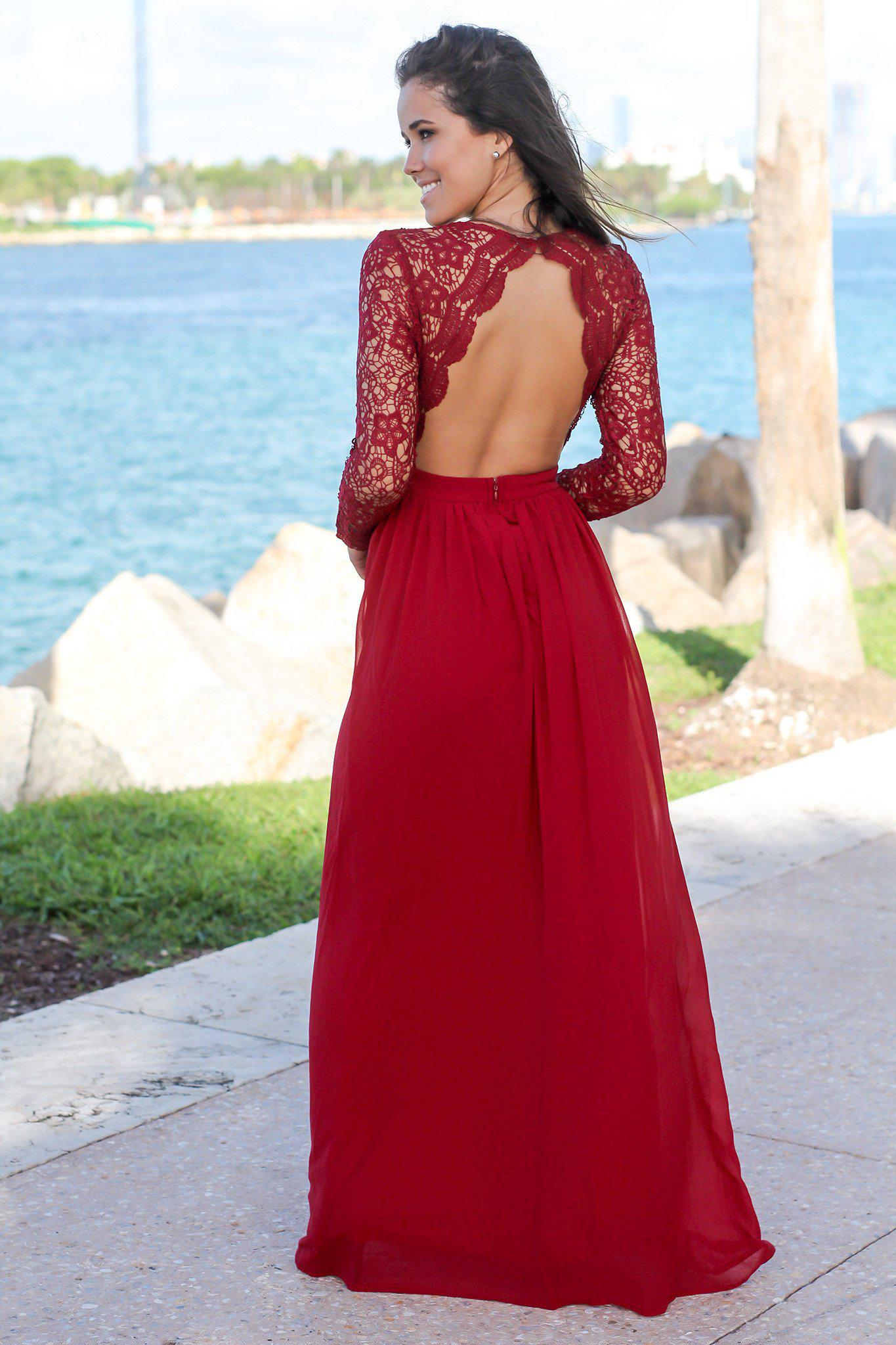 Burgundy Crochet Maxi Dress with Open Back