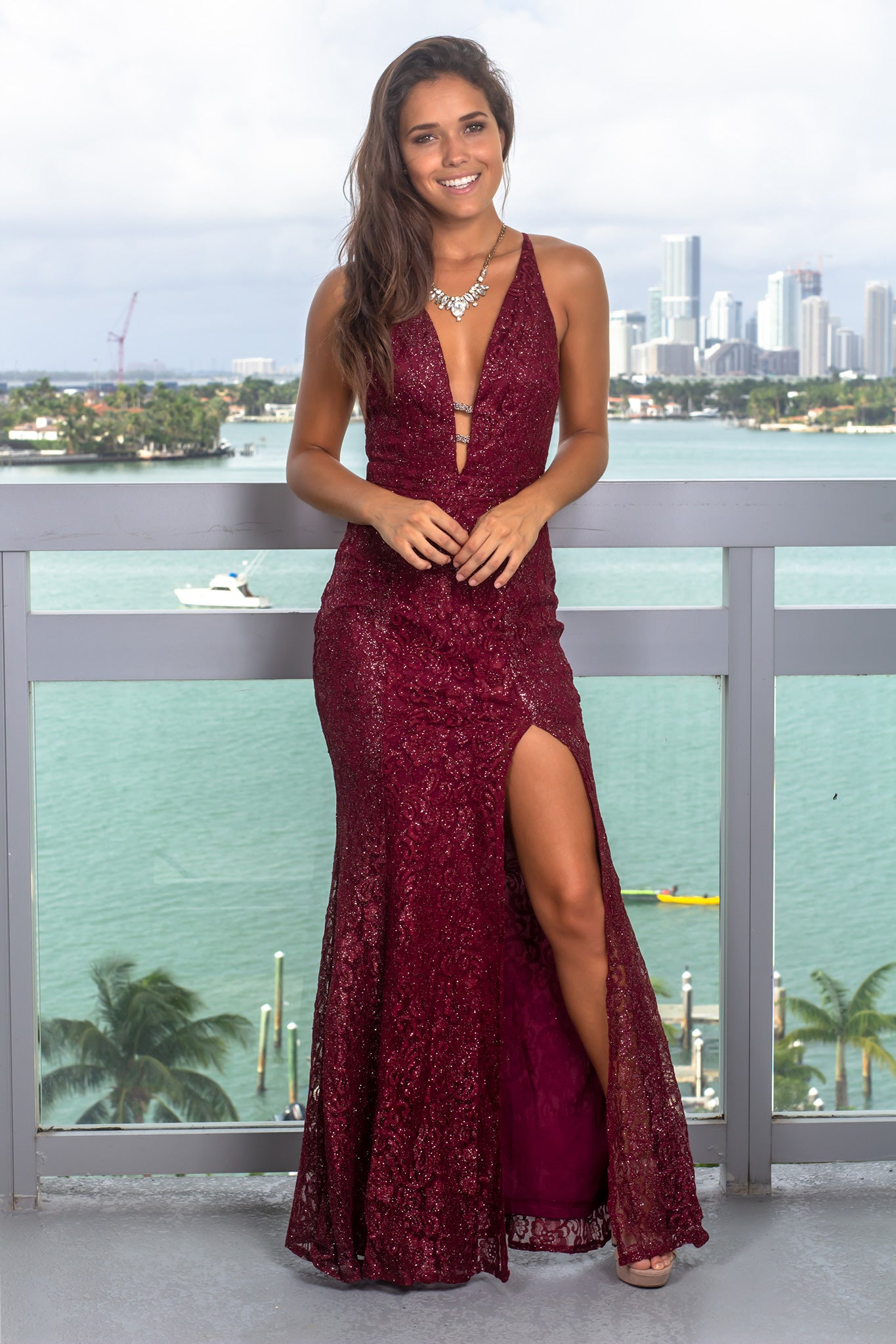 Burgundy Lace Maxi Dress with Shimmer Detail