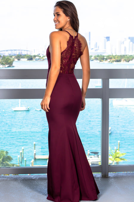 Burgundy Maxi Dress with Lace Back