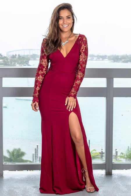 Cherry Maxi Dress with Embroidered Sleeves
