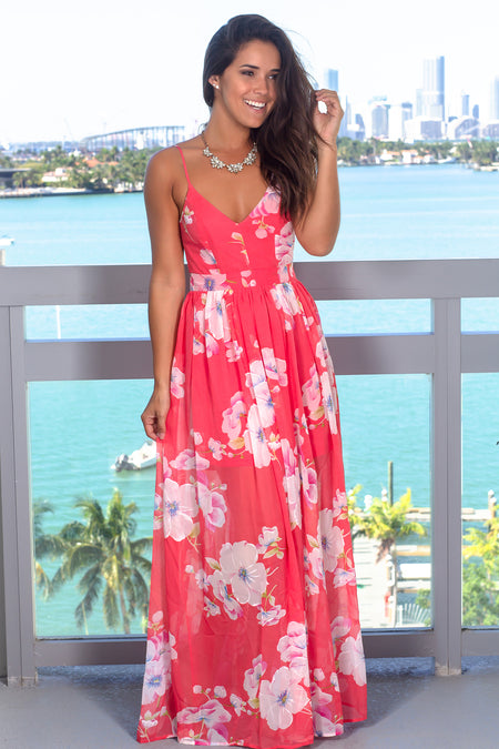 Coral V-Neck Floral Maxi Dress with Open Back
