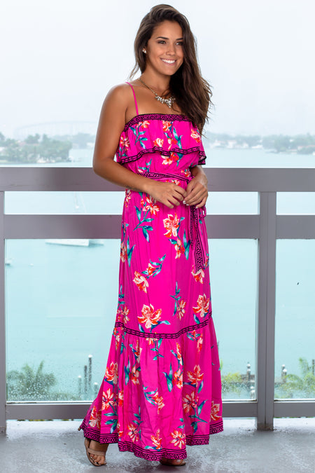Fuchsia Floral Maxi Dress with Tie Waist