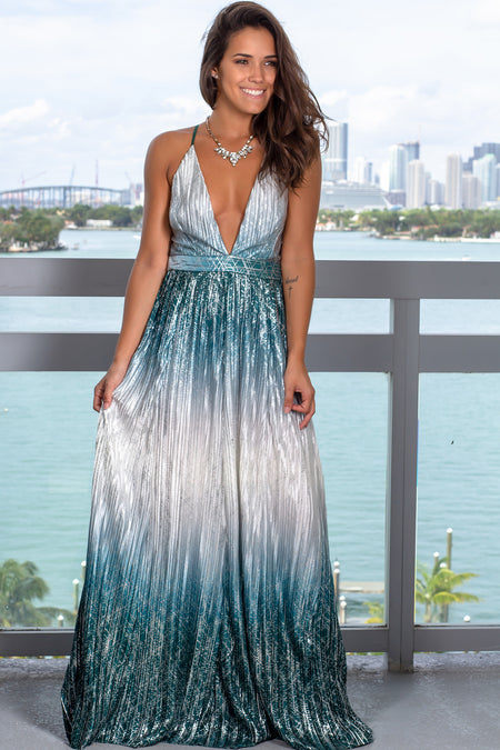 Green Pleated Maxi Dress with Silver Detail
