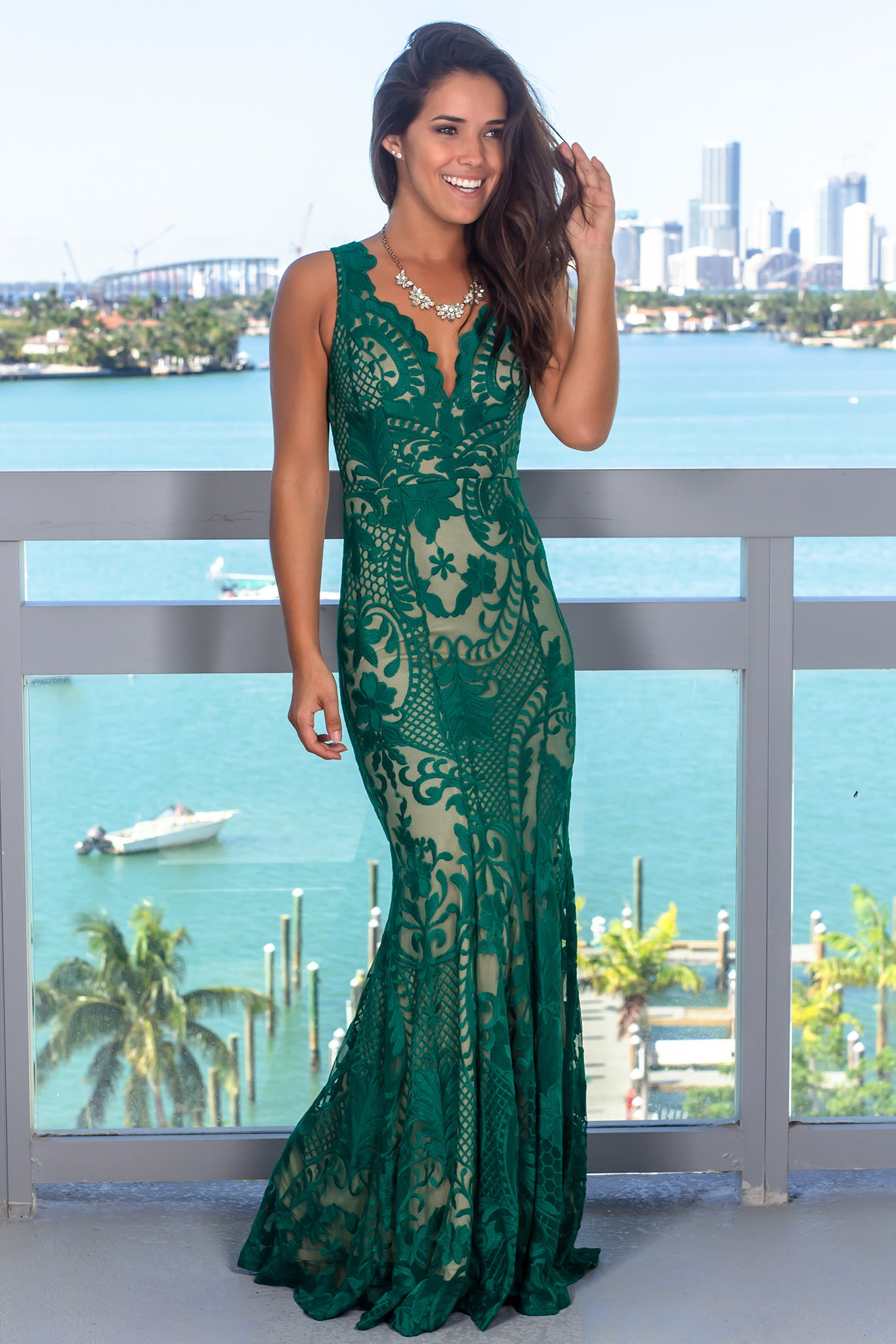 Green and Nude Embroidered Maxi Dress