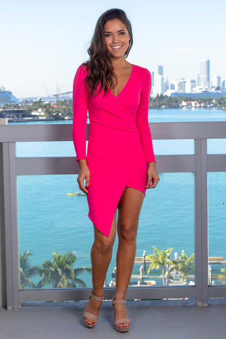 Hot Pink Short Dress with Long Sleeves