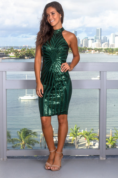 Hunter Green Sequin Short Dress