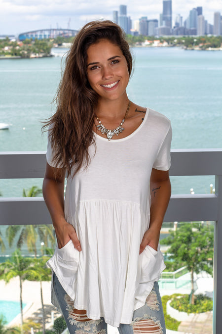 Ivory Babydoll Top with Pockets