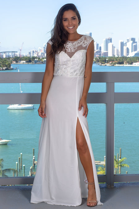 Ivory Embroidered Top Maxi Dress with Sequin Detail