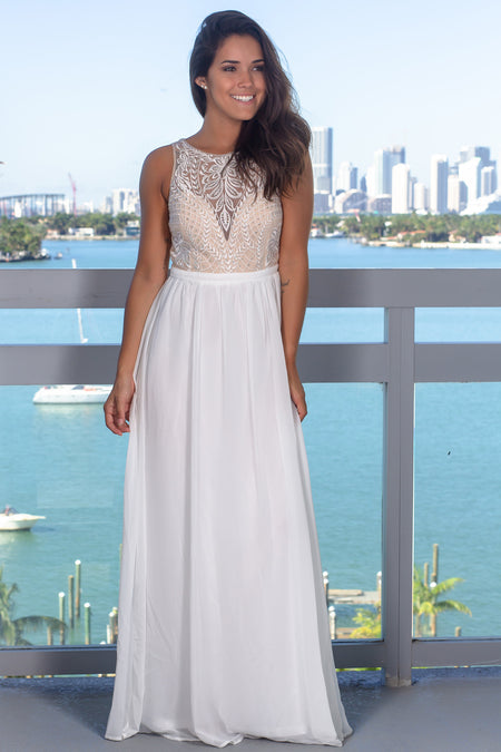 Ivory Mesh Top Maxi Dress with Sequins