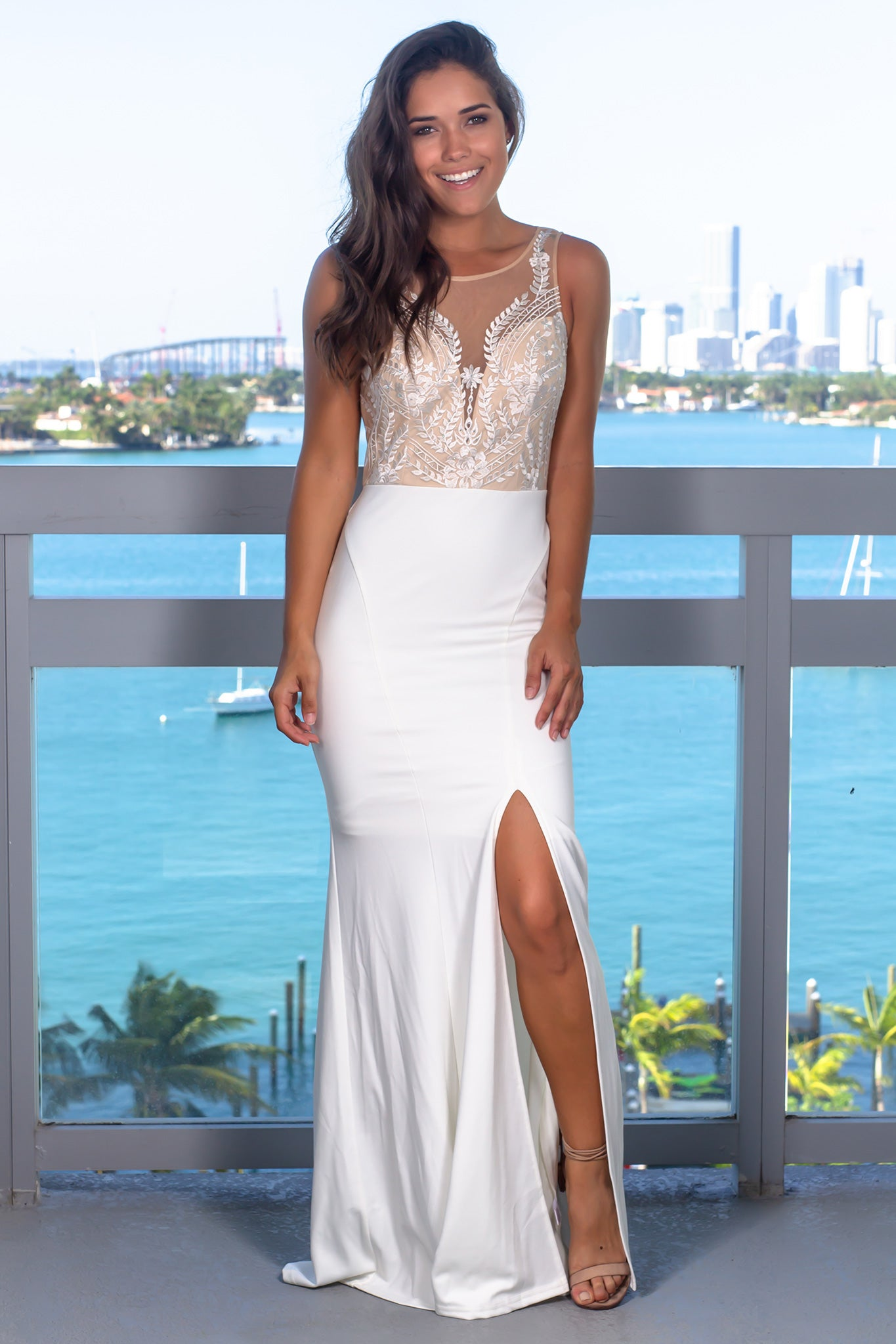 Ivory Mesh Top Maxi Dress with Side Slit