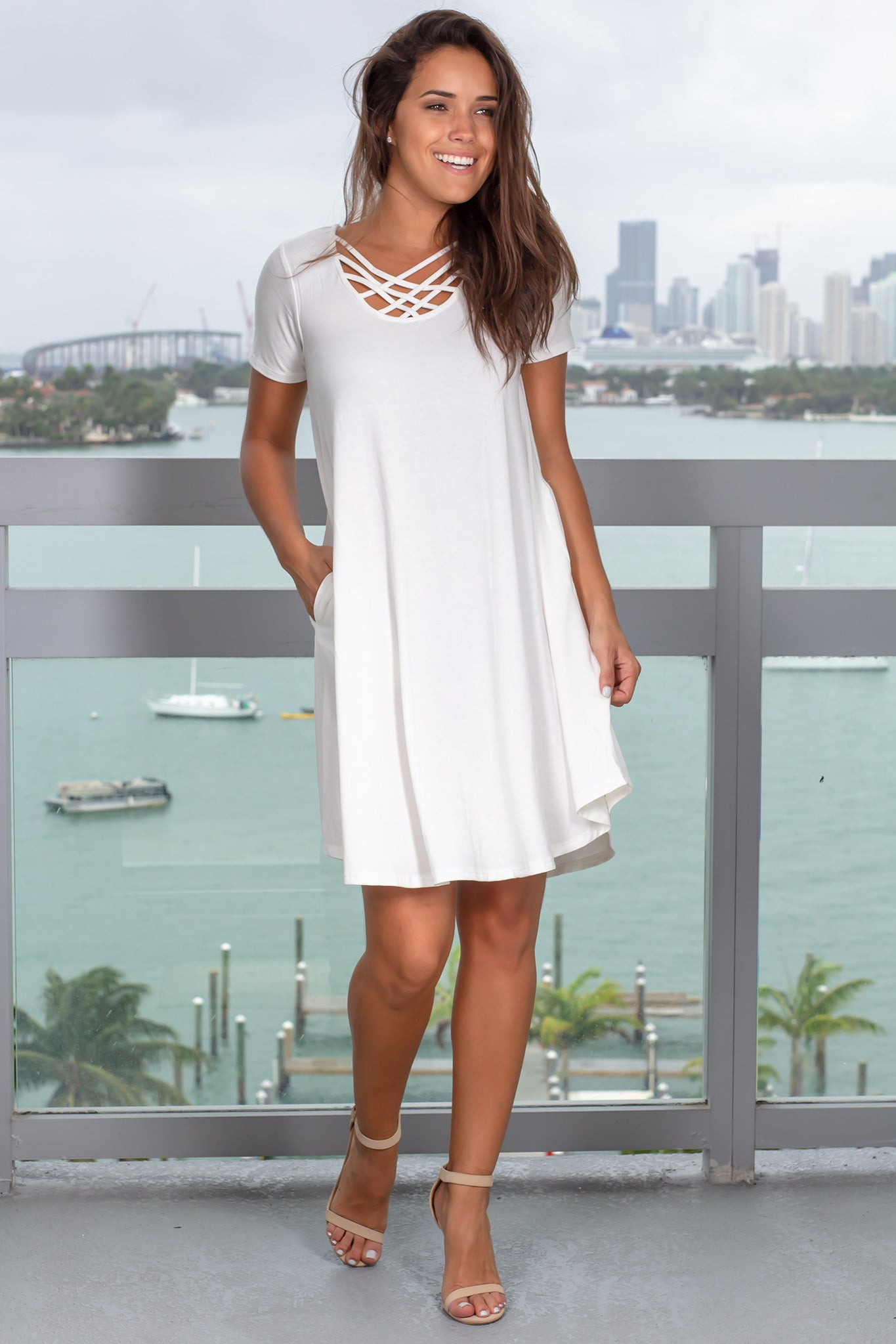 Ivory Short Dress with Strappy Back  Detail