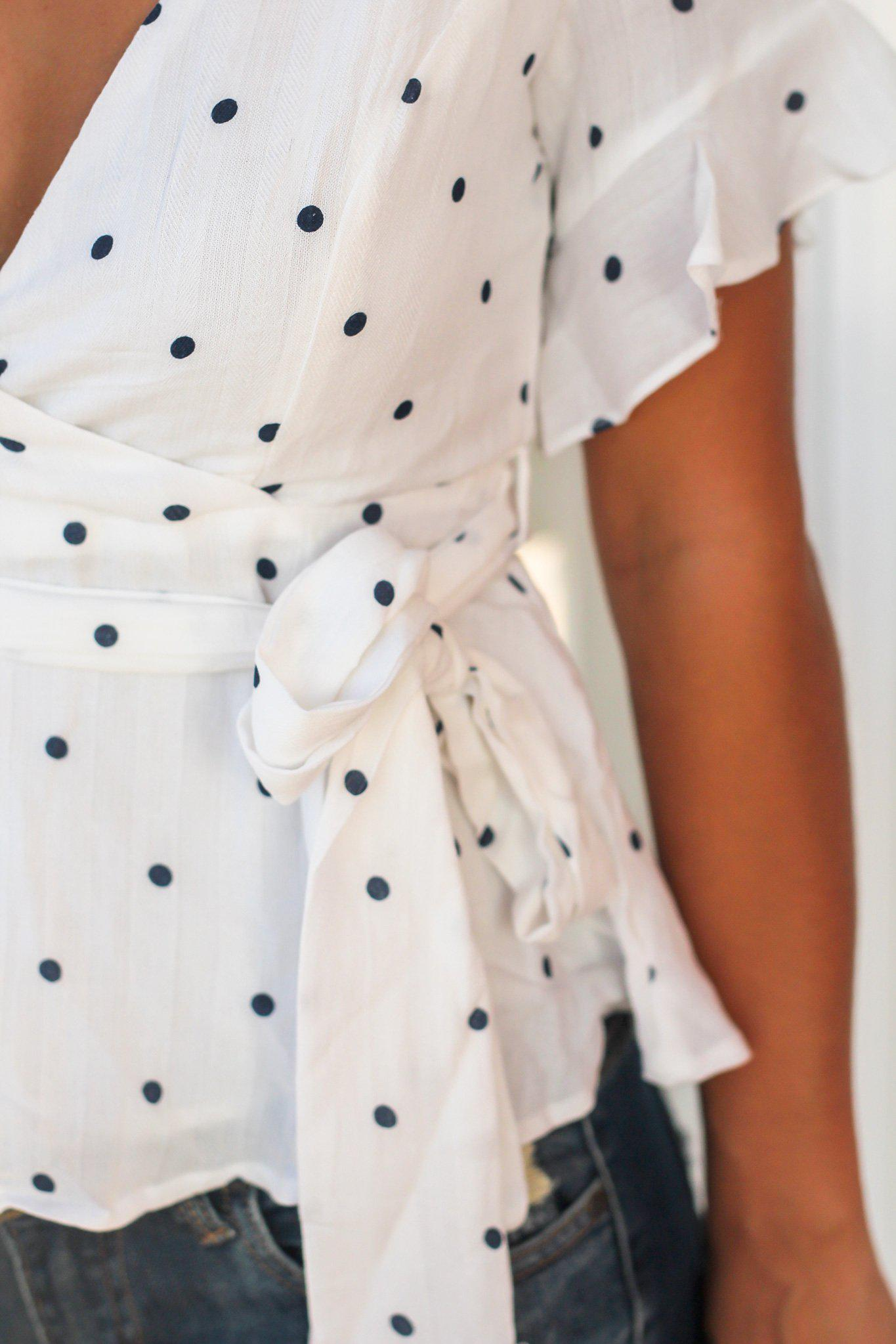 Ivory and Navy Polka Dot Top