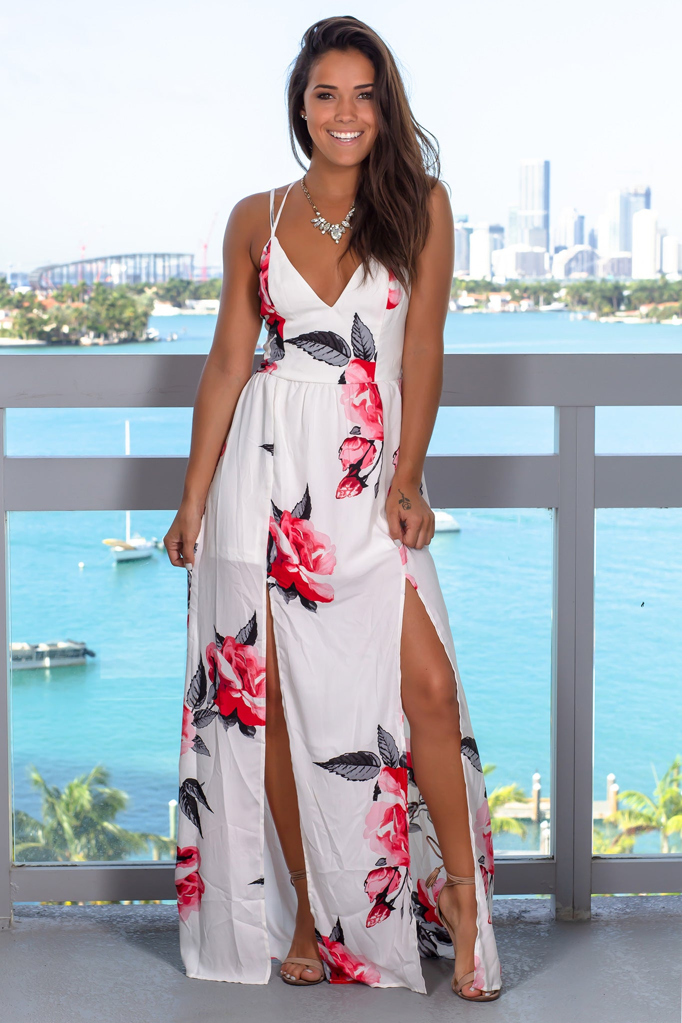 Ivory and Red Floral Maxi Dress with Slits