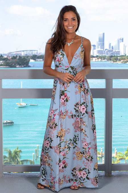 Light Blue Floral Printed Maxi Dress
