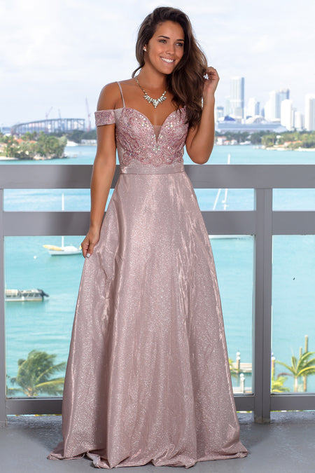 Mauve Shimmer Maxi Dress with Sequin Top