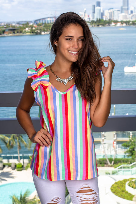 Multi Colored Striped Top with Ruffles