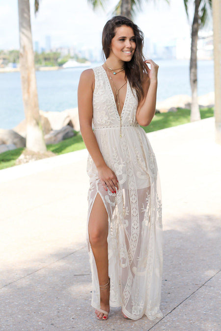 Natural Lace Sleeveless Maxi Romper