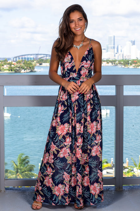 Navy V-Neck Floral Printed Maxi Dress