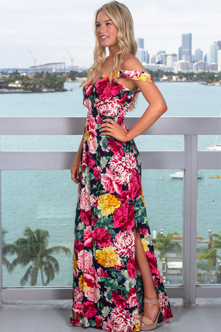 Navy and Fuchsia Floral Maxi Dress