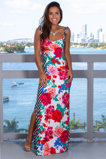 Off White Floral Maxi Dress with Two Slits