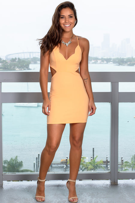Peach Cut Out Short Dress with Scalloped Neck
