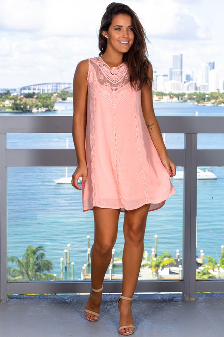 Peach Lace Short Dress