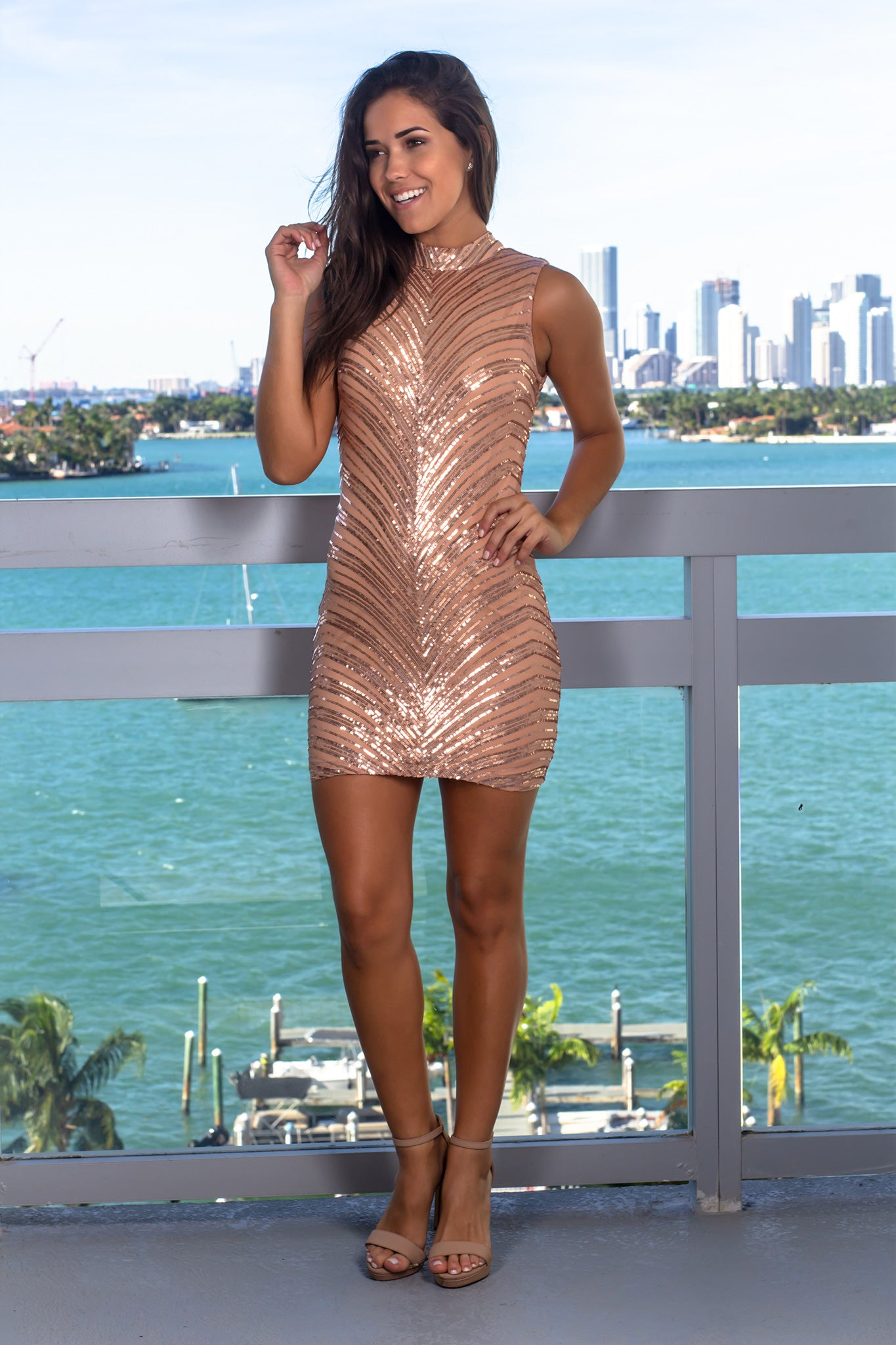 Rose Gold Sleeveless Sequined Short Dress