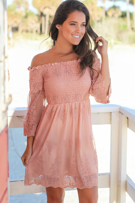 Rose Lace Off Shoulder Short Dress