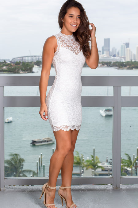 White Lace Open Back Short Dress