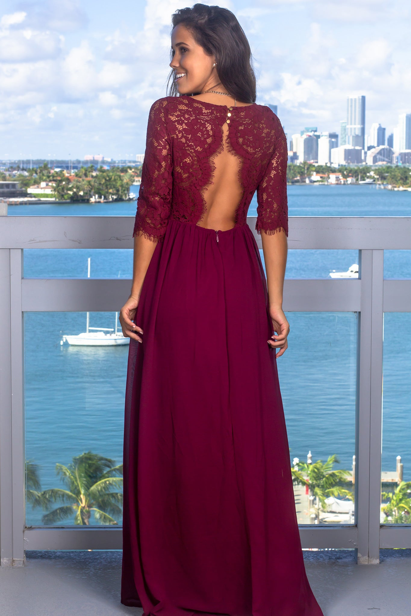Wine Lace Top Maxi Dress with Jeweled Detail