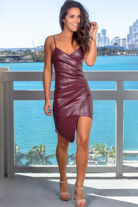 Wine Leather Short Dress with Ruched Side