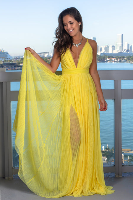 Yellow Pleated Maxi Dress with Criss Cross Back