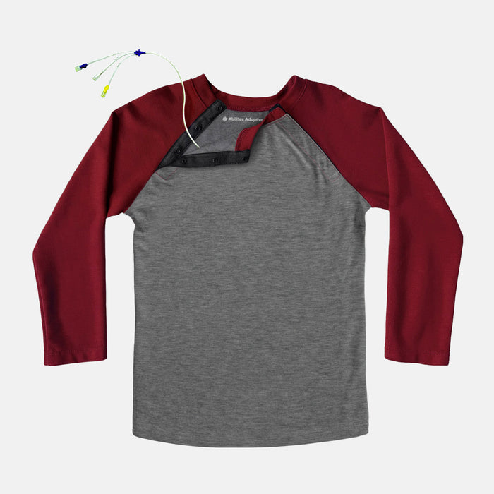 Adult Shoulder Snap Baseball Tee (Burgundy)
