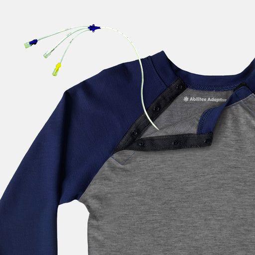 Adult Shoulder Snap Baseball Tee (Navy)