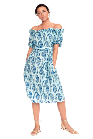 Blue Paisley Amy Dress 1 left
