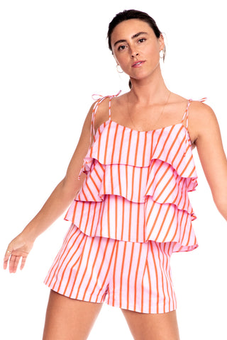 Pink Stripe Tiered Cami