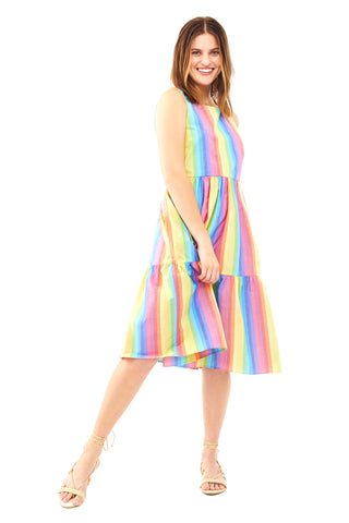 Multi Stripe Sleeveless Peasant Dress