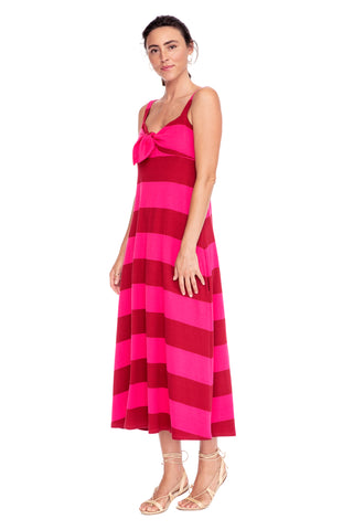 Pink Stripe Tie Front Dress 1 left
