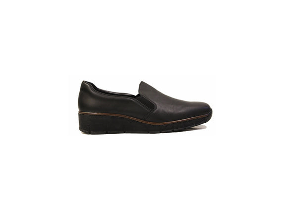 Rieker Shoes 53766-00 Black Leather Loafer Slip On - Free Shipping