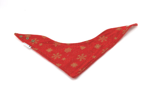 Red with Gold Snowflakes Christmas Dribble Bib - Bandana Style